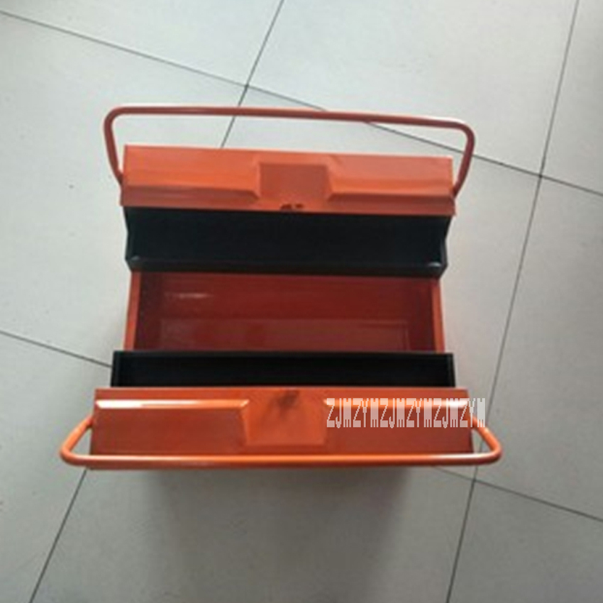 Household Portable Toolbox Three-layer Thicken Iron Storage Box Folding Tool Box Multi-function Maintenance Hardware Toolbox