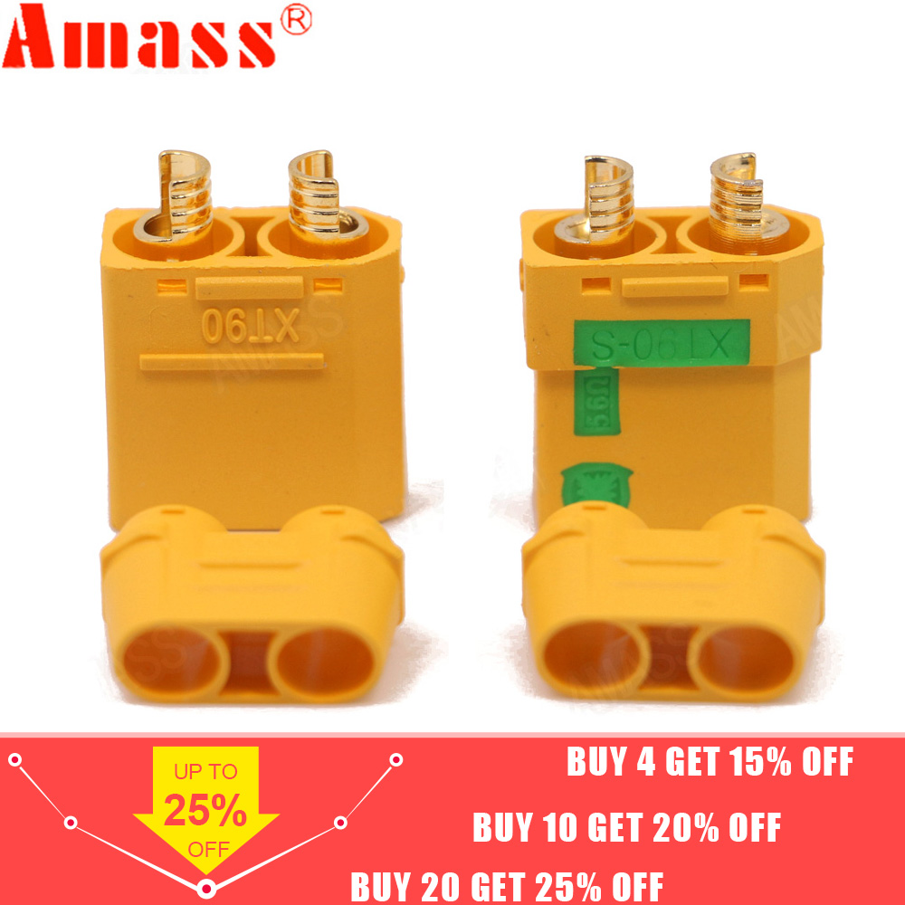 1/2 Pair Amass XT90S XT90-S Male Female Bullet Connector Anti Spark For RC DIY FPV Quadcopter Brushless Motor Drone