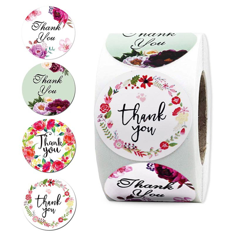 6 Designs Floral Thank You Sticker Paper Seal Label Stickers For Christmas Card Party Favor Gift 500pcs 1'' Stationery Sticker