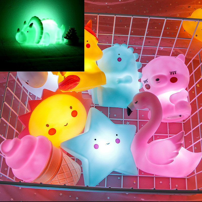 Mini Dinosaur Lamp Kids Night Light Home Decoration Glow In Dark Toy Cartoon LED Glow In The Dark  Kids Toys