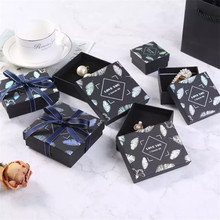 10pcs ins style Paper Cardboard Jewelry Boxes Storage Display Carrying Box For Necklaces Bracelets Earrings Square Rectangle