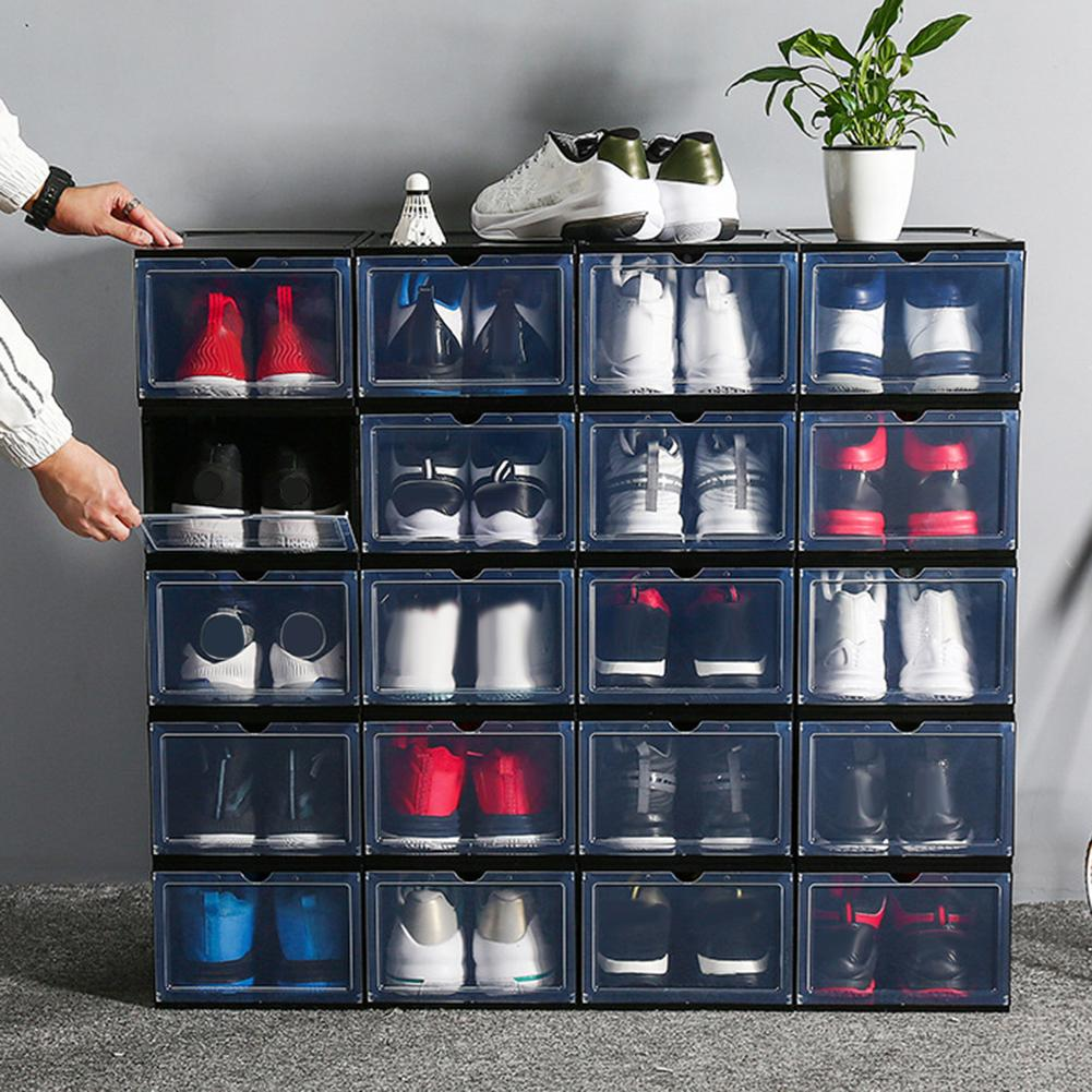 Plastic Transparent Plastic Shoes Storage Boxes Clamshell Stackable Drawer Case Dustproof Shoes Storage Container Organizer Bag