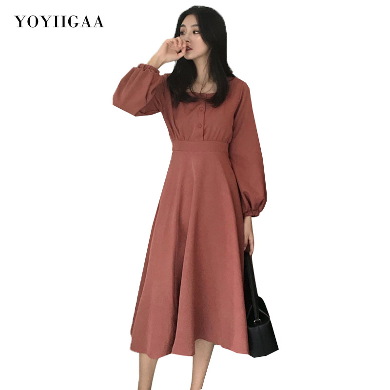 High Waist Dress Square Collar Women Dresses Vintage Elegant Party Club Lantern Sleeve Dress Spring Autumn Ladies Dresses