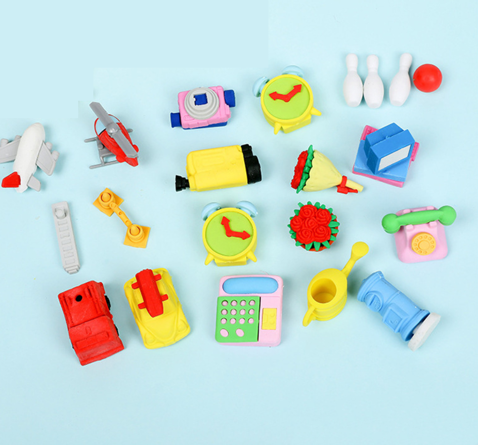 Eraser Set TPR Rubber Cute Telephone Airplane Clock Camera Bowling Pencil Erasers Stationery Kids Gifts School Supplies Prize