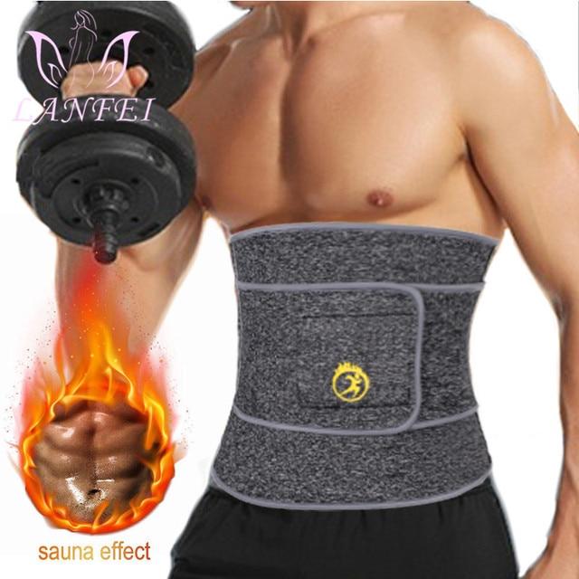 LANFEI Hot Noeprene Slimming Sweat Belt Men Belly Waist Trainer Weight Loss Corset Sauna Body Shaper Sport Workout Strap Fajas