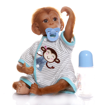 46CM Realistic Doll Reborn Baby Monkey 100% Handmade soft silicone vinyl bebe reborn Apes PP cotton with Real baby clothes