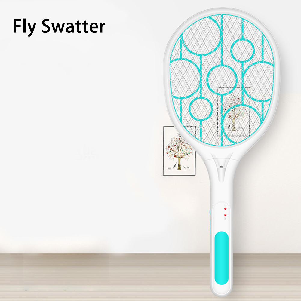 USB Rechargeable Electric Mosquito Flying Swatter Bug Zapper Racket Insects Killer With LED Illumination #CW