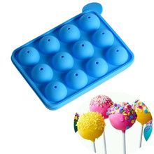 8 / 12 Units Holes Silicone Round ball Cake pop Molds DIY lollipop Tray Chocolate Moulds set Baking  Ice Tray Stick Tool