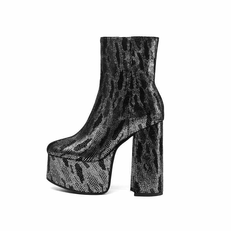 MORAZORA 2020 yeni varış parti gece kulübü ayakkabı kadın yarım çizmeler yuvarlak ayak zip yüksek topuklu platformu çizmeler kadın büyük boy 43