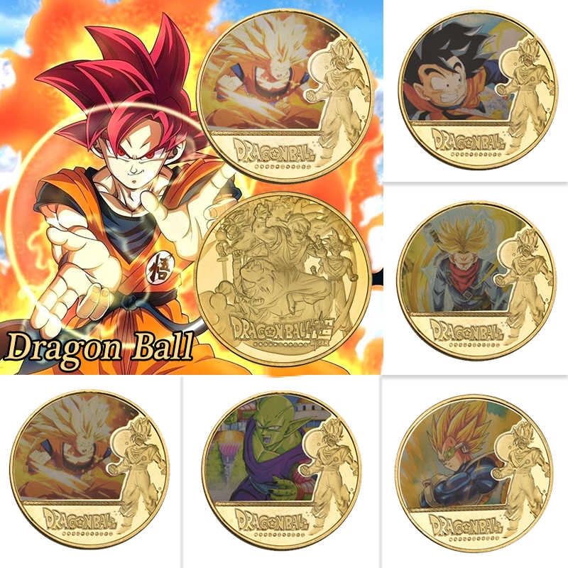 5pcs WR Dragon Ball Gold Plated Coins Collectibles with Coin Holder Japanese Challenge Coin Set Medal Original Gift Dropshipping