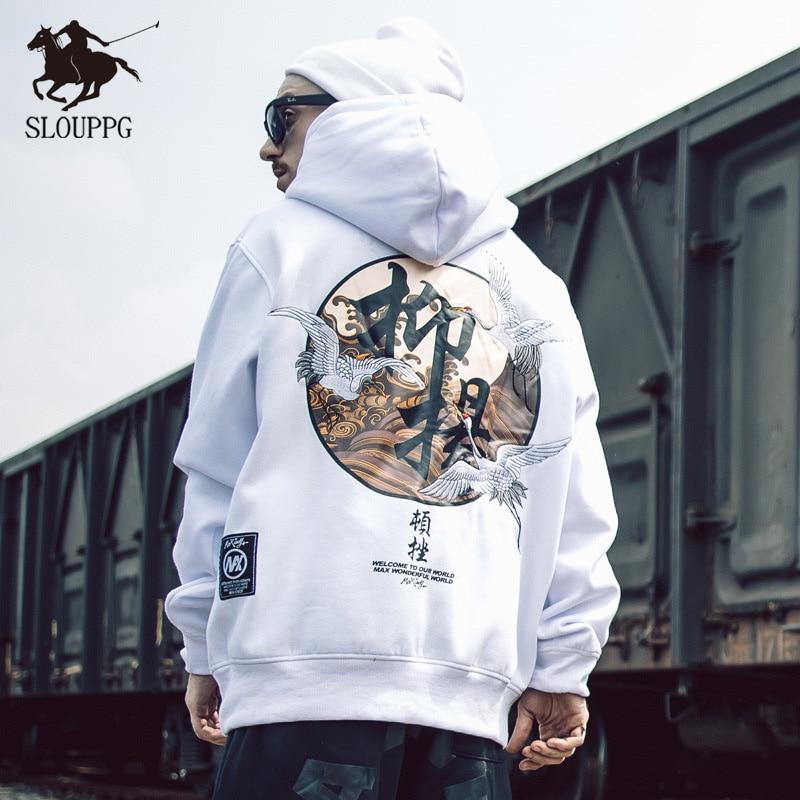 Chinese Style Hip Hop Original Printing Couple Streetwear Sweatshirts Men's Hoodie Oversize Harajuku Pullover Hoodies Men 2019