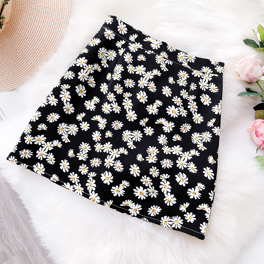 Small Daisy Floral Skirt Women's 2020 Summer Skirt Short Skirt Women Retro High Waist Was Thin A LineBag Hip Skirt