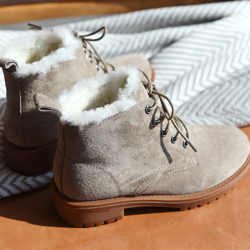 BeauToday laine neige bottes femmes en cuir véritable bout rond à lacets plate forme hiver dames cheville longueur chaussures à la main 03281 - 5