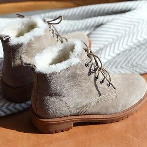 Image 5 - BeauToday צמר שלג מגפי נשים אמיתי עור עגול הבוהן שרוכים פלטפורמת חורף גבירותיי קרסול אורך נעליים בעבודת יד 03281