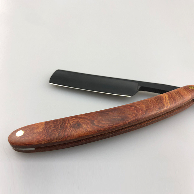 Red Sour Skill Wooden Handle Razor Hairdressing Knife Retro Razor Hair Knife Repair Face G1106 2