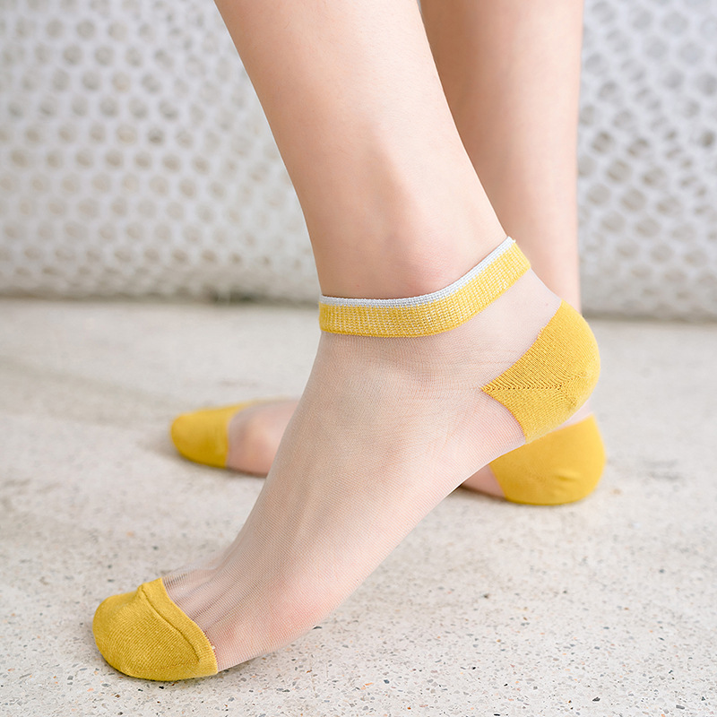 Fashion Women Ankle Socks 2020 Spring New Color Women Fashion Striped Short Socks For Women Breathable Transparent Korea Style