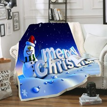 Dropshipping Merry Christmas Snowman Kid Blanket Snow Scene White Blue Red Microfiber Blanket on Sofa Christmas Decor 150x200cm
