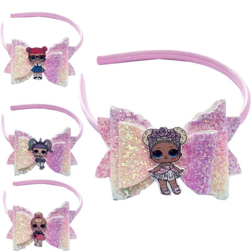Bonito lol surpresa bonecas acessórios para o cabelo menina cabeça usar arco hairpins faixa de cabelo dos desenhos animados elástico headdress presente do bebê acessórios