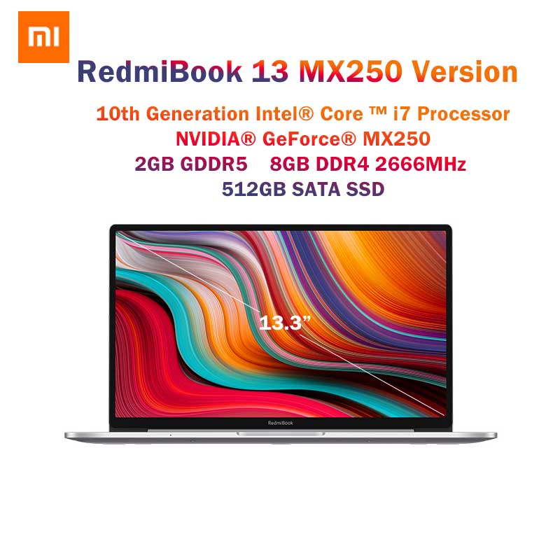 Original Xiaomi RedmiBook 13.3 Inch MX250 Laptop Intel Core I7-10510U 8GB RAM DDR4 512GB SATA SSD Windows 10 NoteBook