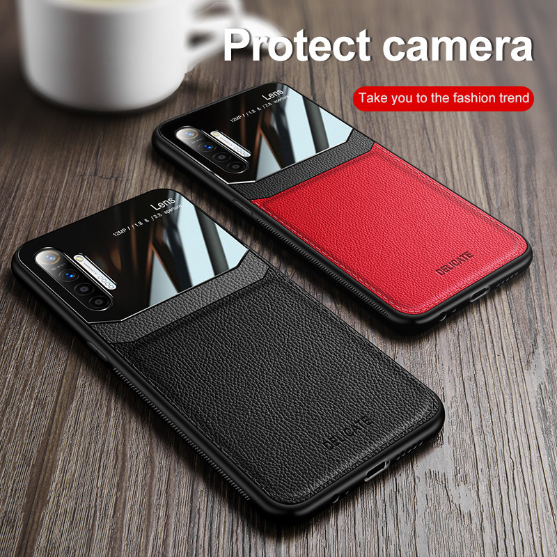 Leather Plexiglass <font><b>Case</b></font> For <font><b>OPPO</b></font> Realme 5 pro X XT Q K3 K5 A9 2020 <font><b>A3</b></font> A5 F11 Reno ACE 2 2Z Mirror <font><b>Glass</b></font> Silicone Bumper Cover image