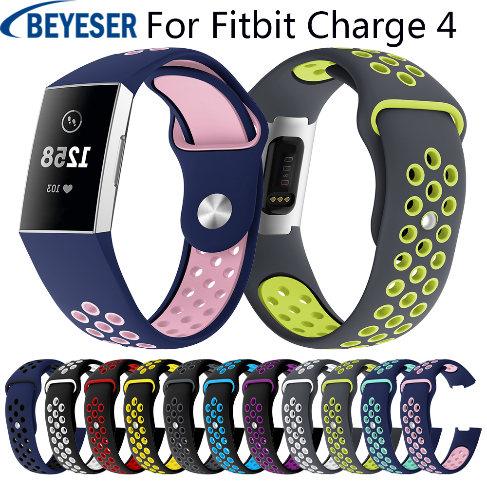 20mm Fashion Smart Sporting Two Colors Soft Silicone Strap L /S Size Replacement For Fitbit Charge 4 Wrist Bracelet Adjustable
