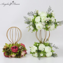 Custom artificial flower ball centerpieces bottom flower garland decor wedding bouquet home table flower party rose peonies leaf