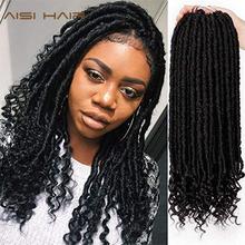 Aisi hair Goddess Faux Locs Dreads szydełkowe włosy warkocze syntetyczne do przedłużania włosów 16 cali miękkie naturalne 24 stojaki opakowanie tanie tanio Wysokiej Temperatury Włókna 24 nici opakowanie Matowe