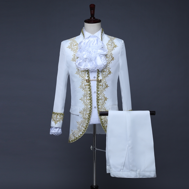 Male Suits England Style Formal Court Dresses Costumes Prom Teams Chorus Stage Costume Wedding Host Men Party Show Outfit DT1376 - 2