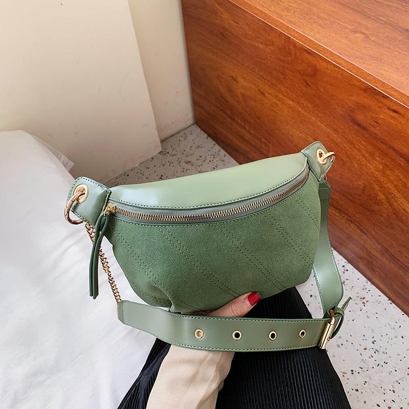 Fashion New Brand PU Leather Chain Waist Bag Bananka Bag On A Belt Leisure Fanny Pack Women Satchel Belly Band Belt Bag