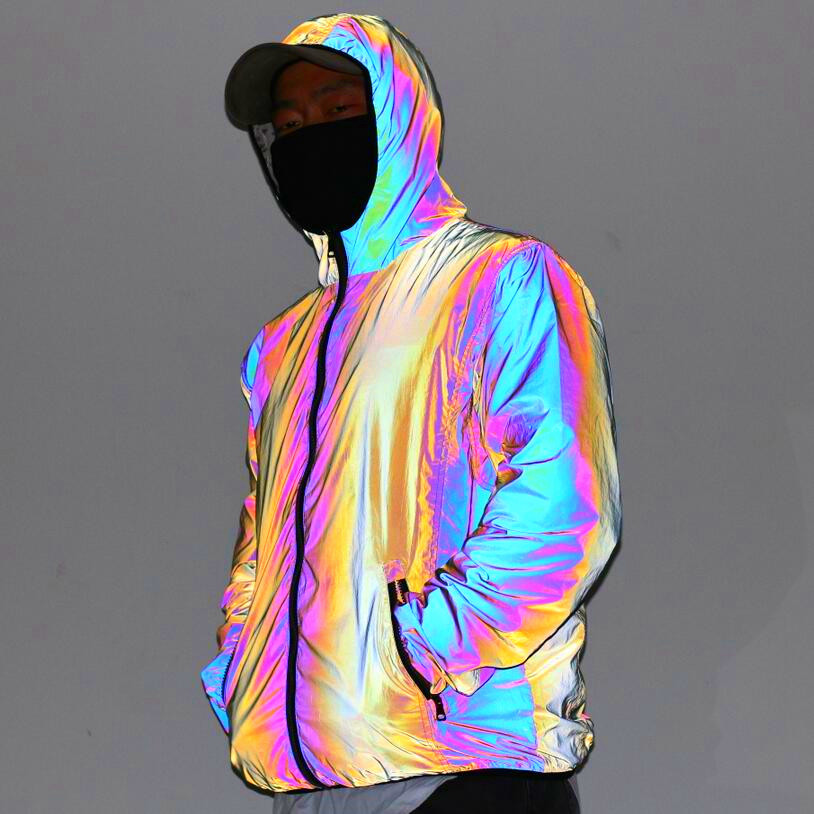 2020 Men's Autumn Symphony Reflective Jacket Teenagers Leisure Colorful Glow-in-the-Dark Hooded Jacket