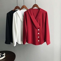 Autumn Spring New Female Blouse V Neck Chiffon Shirt Long Sleeve Femme Solid Color Red White Tender OL Blouse Casual Shirt