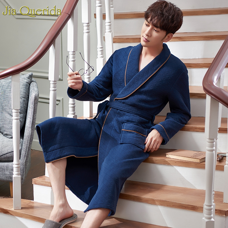 Mens Home Clothing Winter Warm Pajama High Quality Double Side 100% Cotton Kimono Lapel Royal Blue Diamond Pattern Mens Bathrobe