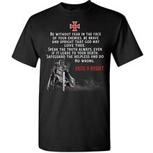 Soyez le guerrier de dieu, sans crainte, courageuse. T-Shirt de chevalier chrétien, Templar. T-shirt d'été en coton à manches courtes et col rond pour homme