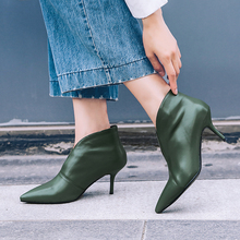 Plus Size 34-43 New Women High Heel Booties Fashion Female High-Heeled Boots Young Ladies Booties 8cm Heel Genuine Leather Boots