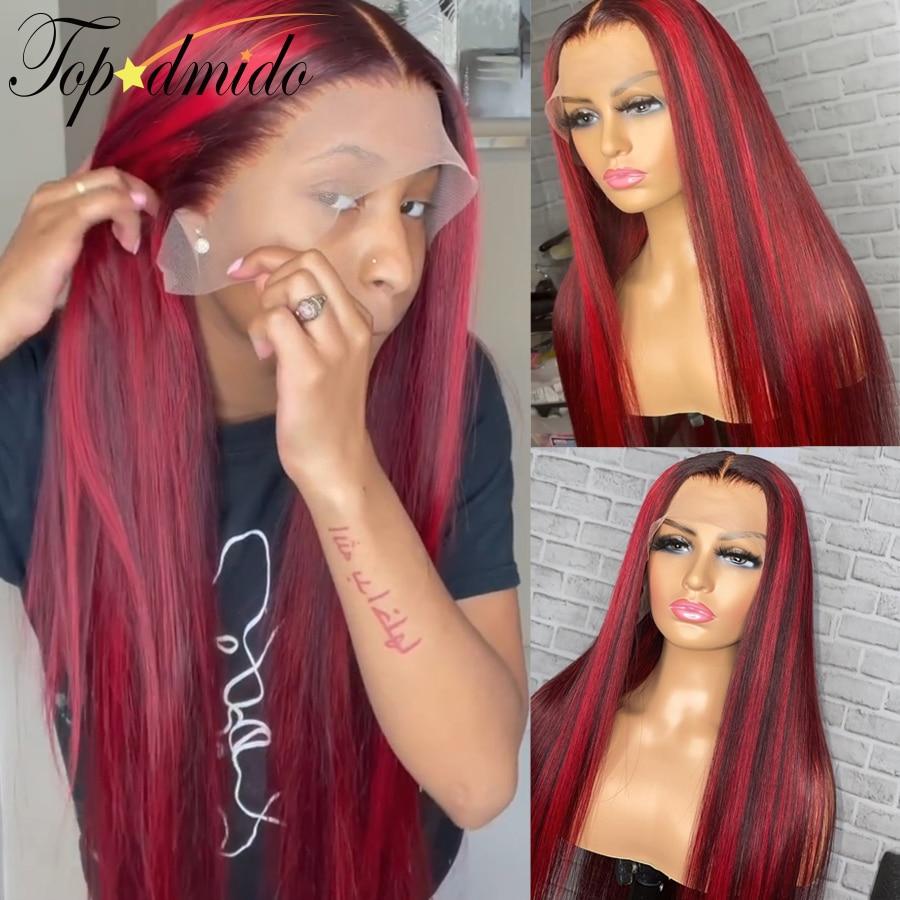 Topodmido 13x6 красного цвета Синтетические волосы на кружеве человеческих волос парики с детскими волосами цвет подсветки бразильский Волосы Remy...