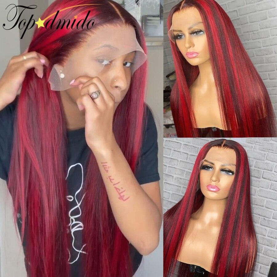 Topodmido 13x6 cor vermelha frente do laço perucas de cabelo humano com o cabelo do bebê destaque cor brasileira remy cabelo peruca dianteira do laço para mulher