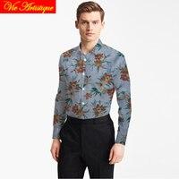 custom tailor made Men's bespoke cotton floral shirts business formal wedding ware blouse jeans blue print orange flower fashion