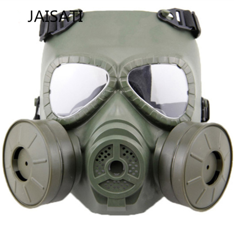 Image 2 - JAISATTI Tactical Head Masks Resin Full Face Fog Fan For CS Airsoft Paintball Dummy Gas Mask with Fan Double Cosplay Protection-in Masks from Security & Protection
