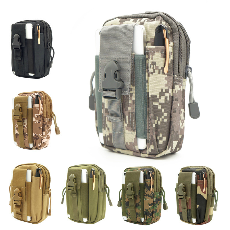 Outdoor Sports Pannier Bag Running Mountain Climbing Canvas Coin Purse Mobile Phone Storgage Bag Wallet Camouflage Tactical Mult