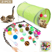 21Pcs Stick Set Funny Pet Tunnel Cat Kitten Play Stick Mouse Cats Stick Ball Toys Bulk Toy Pet Supplies(China)