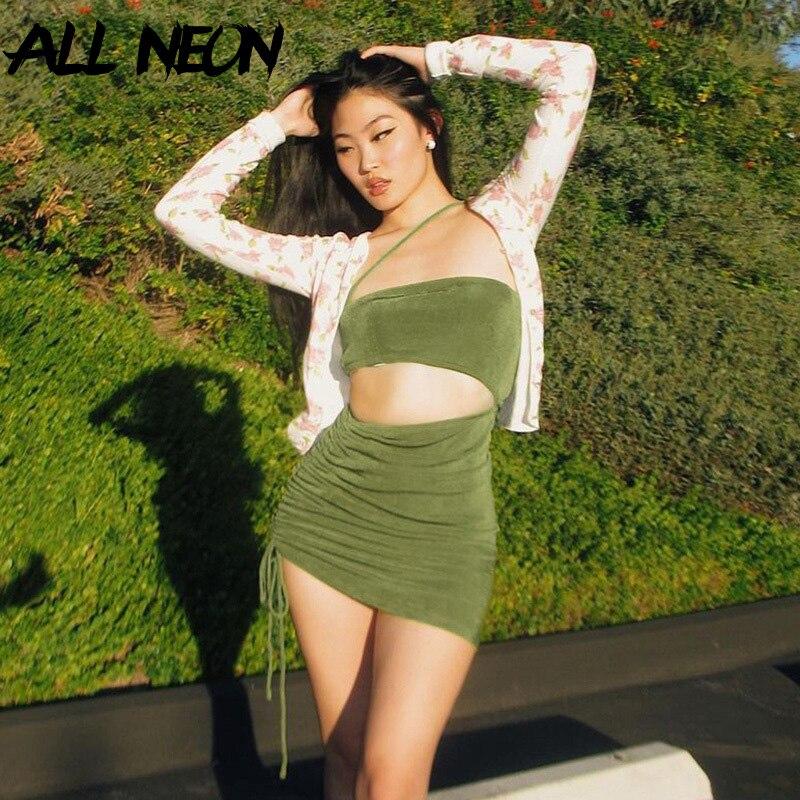 ALLNeon 2000s эстетика шнурок зеленого цвета с вырезами платья Y2K модные перфорированные открытые туфли; Тонкие, подтяжками и футболкой с коротки...