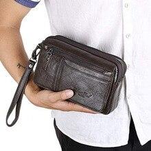 Высокое качество мужской деловой бумажник-клатч из натуральной кожи на запястье, сумки для денег, первый слой, Воловья кожа, кошелек, кошельки, сигаретный держатель для карт