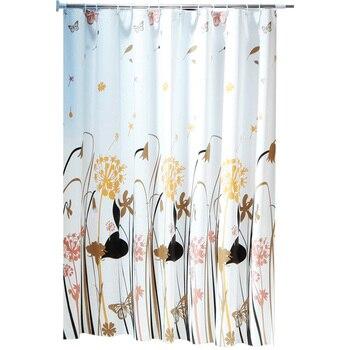 Patrón de diente de león Cortina de ducha estera decorativa impermeable tela de poliéster conjunto de cortina de baño decoración de baño