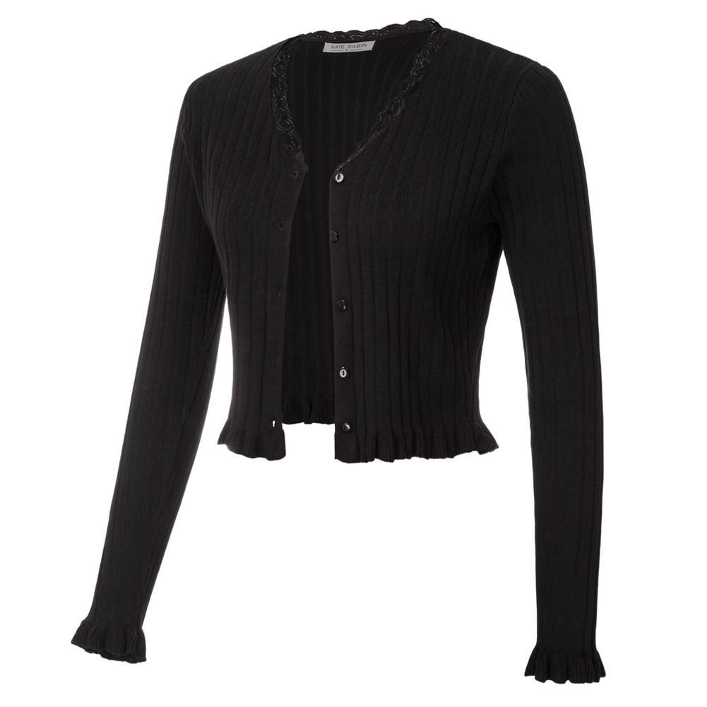 Women Coats Jumpers Cropped Cardigan Ribbed Knitwear Long Sleeve V-Neck Button Placket Slim Retro Fashion Spring Fall Sweater