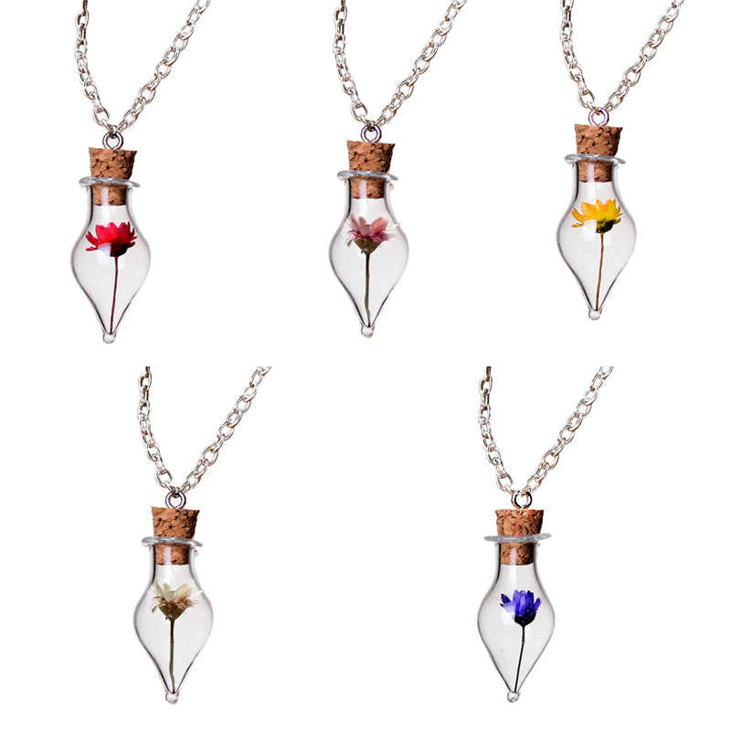 1Pcs Dry Flower Inside Lucky Glass Bottle Wishing Pendant Necklace Glass Bottle DIY Pendants Gift Walls Decorations For Home