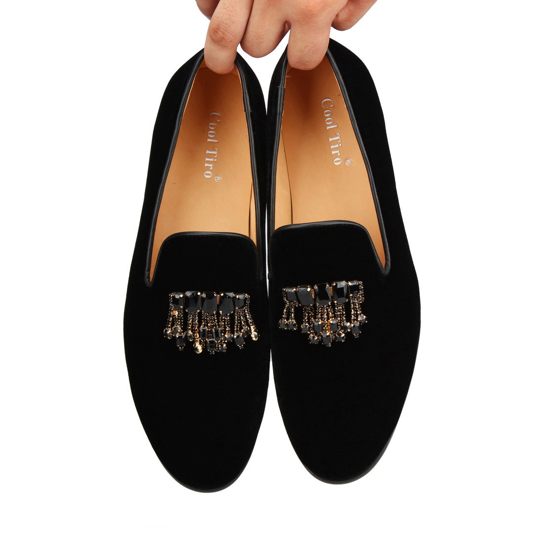 Стильные черные бархатные Лоферы TIRO с драгоценными камнями; Мужские модельные туфли; Роскошные лоферы с кристаллами; деловая мужская обувь - 6