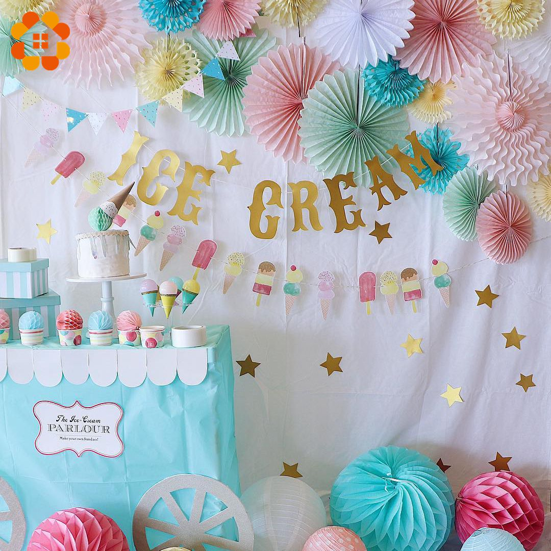 1PC Ice Cream Colorful Tissue Paper Lantern Honeycomb Ball Tissue Pompoms For Baby Shower Wedding Happy Birthday Decorations