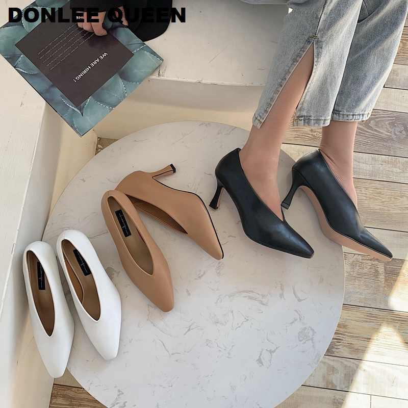 Frauen Pumpen Weibliche High Heels Schuhe Frauen Karree Kleid Schuhe Weiche Dünne Ferse Hochzeit Schuhe 2020 Neue Ankunft Mode V Pumpen