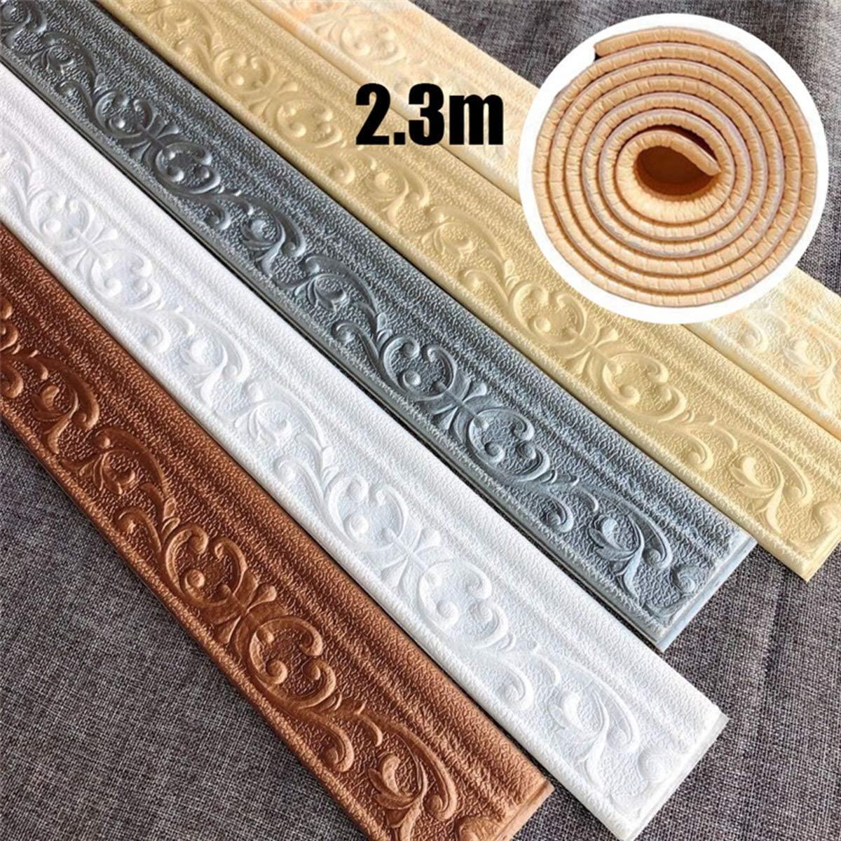 3D Foam Wall Edge Strip Stickers Self Adhesive Waterproof Baseboard Corner Waist Line Sticker Wall Trim Line Skirting Border