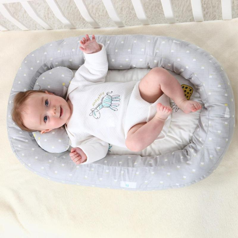 Baby Portable Removable Washable Crib Cotton Twill Fabric Filled With Polyester Travel Sleeping Nest Bed Protector Cushion